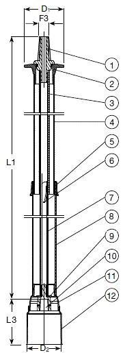Шпиндель AVK Ду40-150 L=1050-1750мм